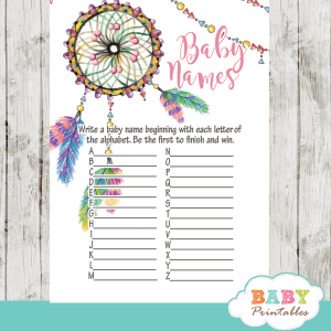 boho dream catcher baby shower games watercolor pink girl
