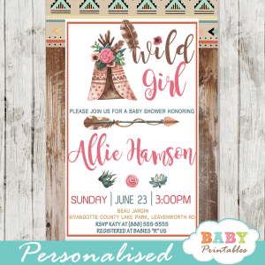 chic rustic wood boho tribal baby shower invitations girl