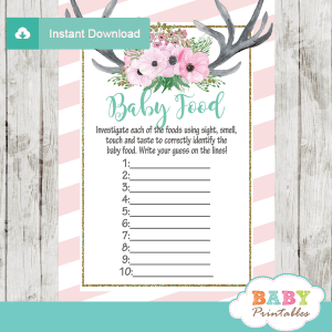pink floral antlers baby shower games deer theme baby food