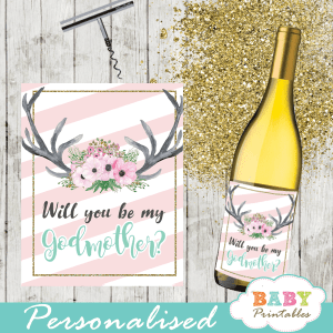pink floral antlers deer printable baby shower gift tags