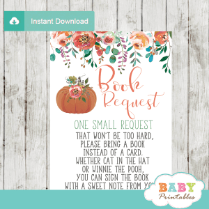 fall baby shower little pumpkin book request cards invitation insert