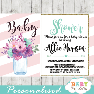 mason jar baby shower invitations template pink blush turquoise watercolor flowers