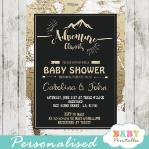 travel themed adventure baby shower invitations world map tan white