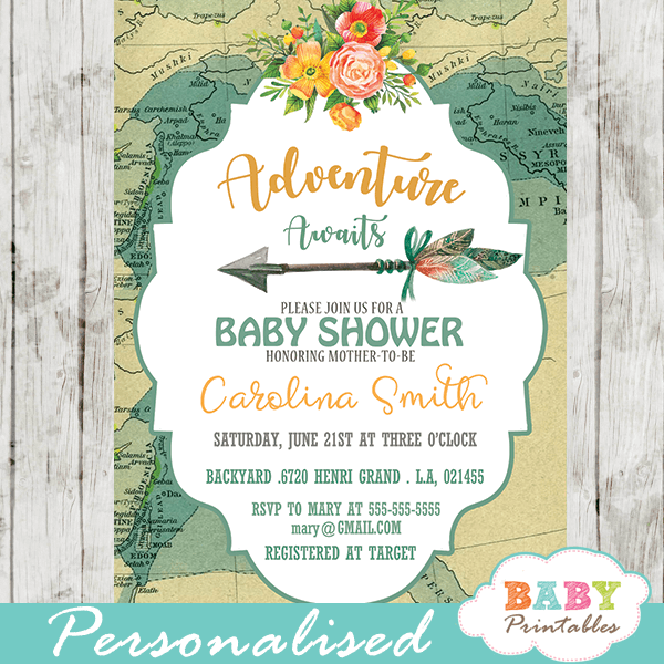 gender neutral travel theme adventure awaits baby shower invitations world map vintage