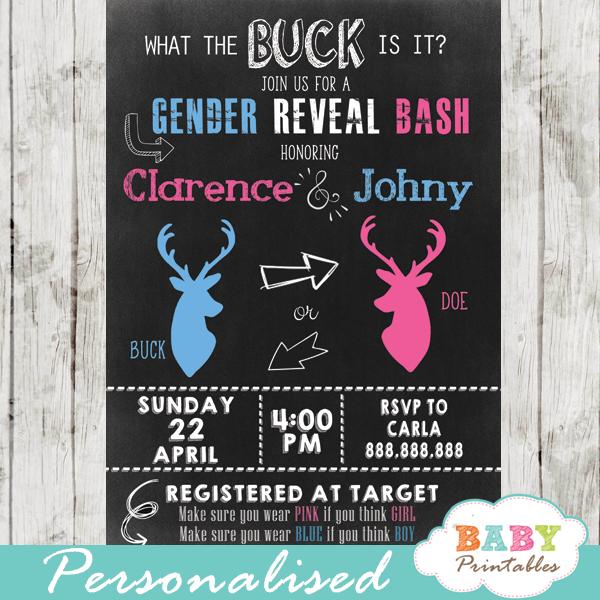 gender reveal invitations buck or doe