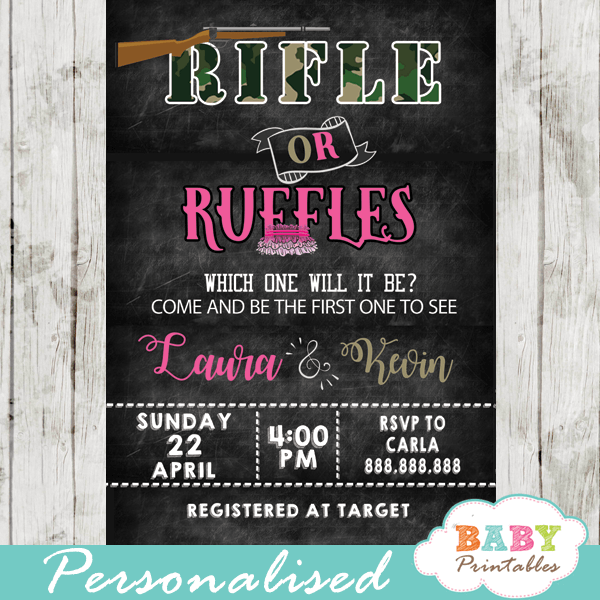 rifle or ruffles gender reveal invitations