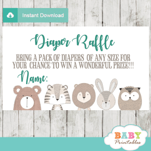 forest animals diaper raffle tickets decorations theme gray turquoise boy