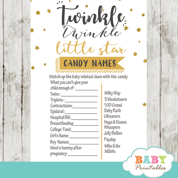 Twinkle Twinkle Little Star Baby Shower Games, Gender Neutral Yellow - D350 - Baby Printables