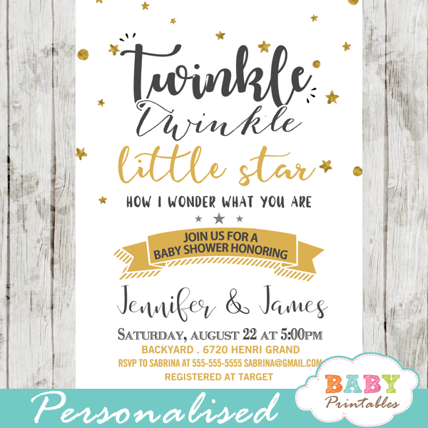 Twinkle twinkle little star baby shower invitations gender neutral twinkle twinkle little star baby shower invitations decorations theme gender neutral yellow gold filmwisefo Gallery