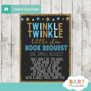 twinkle twinkle little star baby shower book request cards decorations theme boy blue