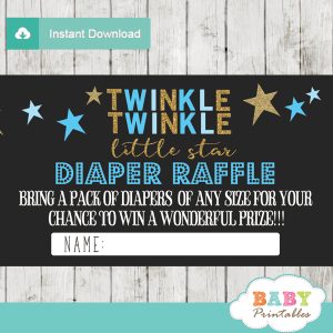 twinkle twinkle little star baby shower diaper raffle tickets decorations theme blue boy