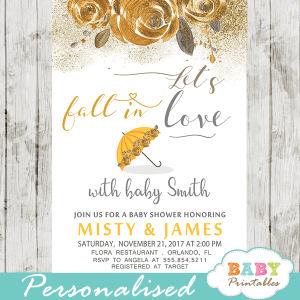 autumn fall in love baby shower invitations floral yellow gold gender neutral