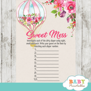 up up and away hot air balloons baby shower games girl pink floral bouquet