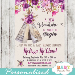 floral tribal teepee baby shower invitations boho feather girl theme garden bouquet pink purple watercolor