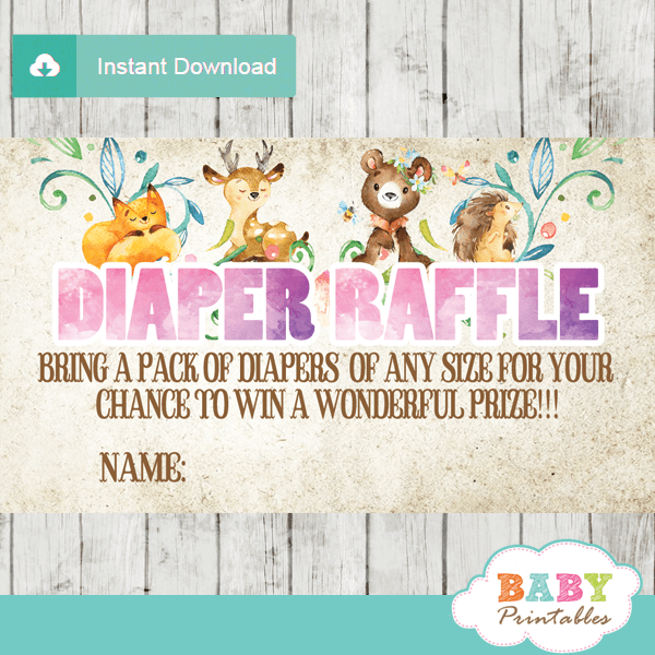 printable watercolor rustic woodland forest animals diaper raffle tickets baby shower girl
