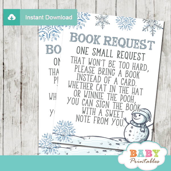 baby it's cold outside book request cards blue silver winter wonderland snowman boy blue silver gray