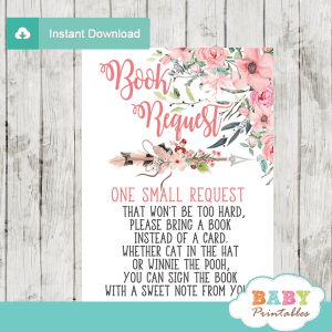 boho floral arrow book request cards pink blush invitation inserts