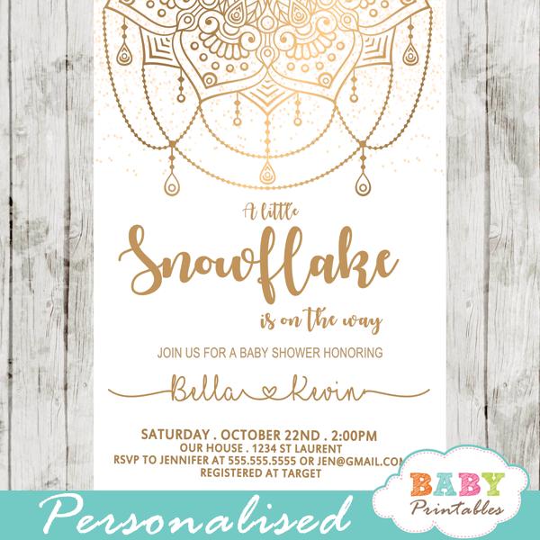 golden snowflake mandala baby shower invitations gender neutral winter unity spiritual symbolism
