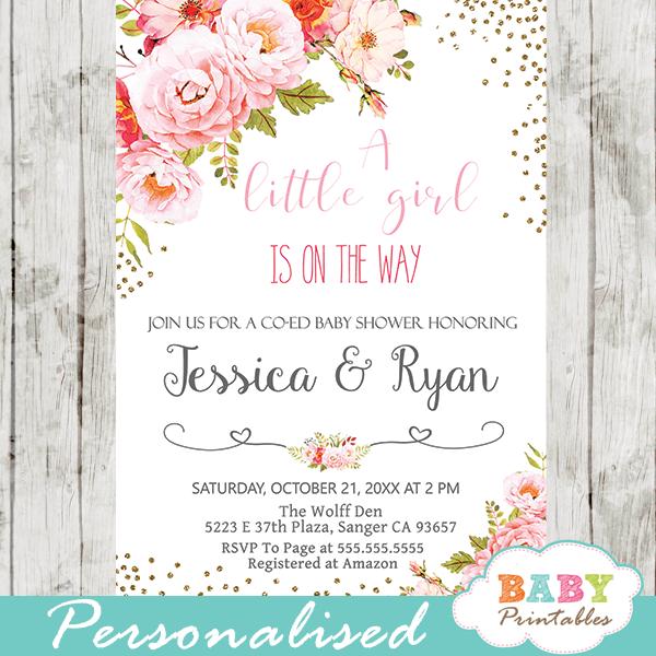 rose gold baby shower invitations floral boho girl