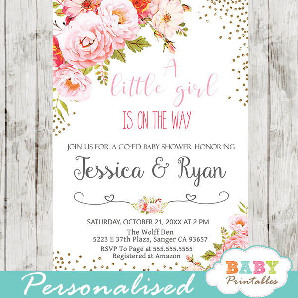 Pink roses floral baby shower invitations d309 baby printables rose gold baby shower invitations floral boho girl filmwisefo Gallery
