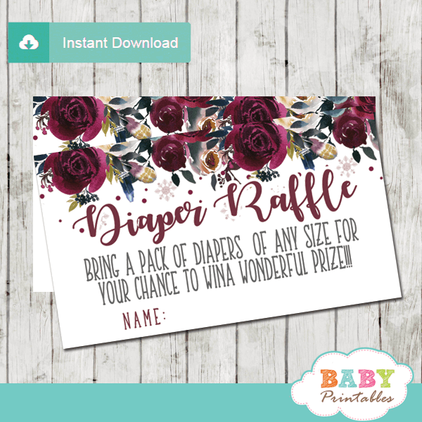 winter snowflake diaper raffle tickets hand drawn watercolor silver gray burgundy flowers girl