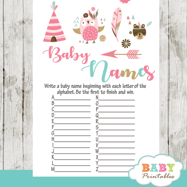 tribal woodland forest animals baby shower games boho turquoise pink girl