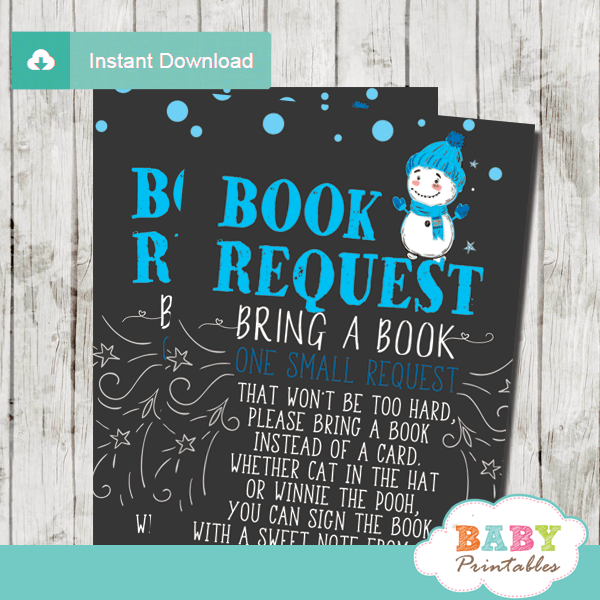 winter wonderland book request cards baby it's cold outside invitation inserts boy white blue