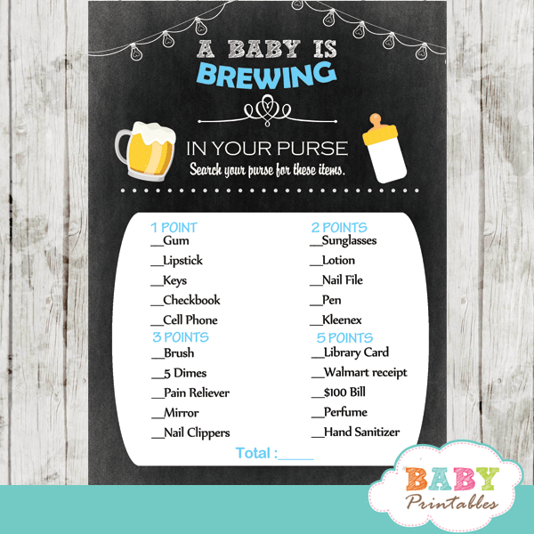Blue Beer Bbq Baby Shower Games D159 Baby Printables