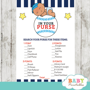 sports theme white blue little slugger baseball baby shower games all star boy