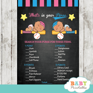 team pink or team blue baseball gender reveal baby shower games sports theme little slugger all star