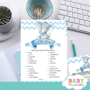 blue elephant baby shower games boy chevron