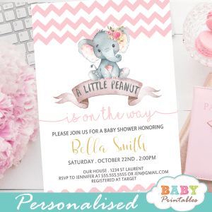 pink elephant baby shower invitations girl little peanut theme chevron zig zag pattern
