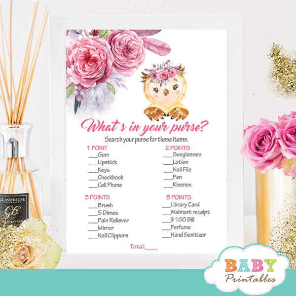 pink and gray owl baby shower games girl watercolor flowers