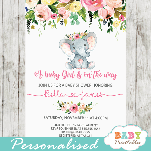 Pink Fl Elephant Baby Shower Invitations D431