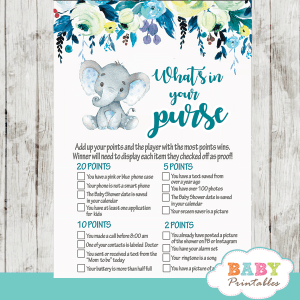 boy teal blue floral elephant baby shower games
