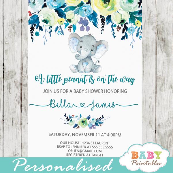 elephant baby shower invitations boy  floral teal blue