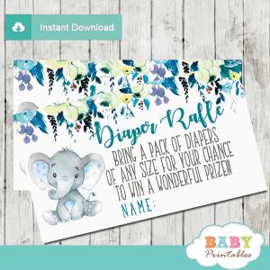 elephant diaper raffle tickets teal blue grey little peanut boy