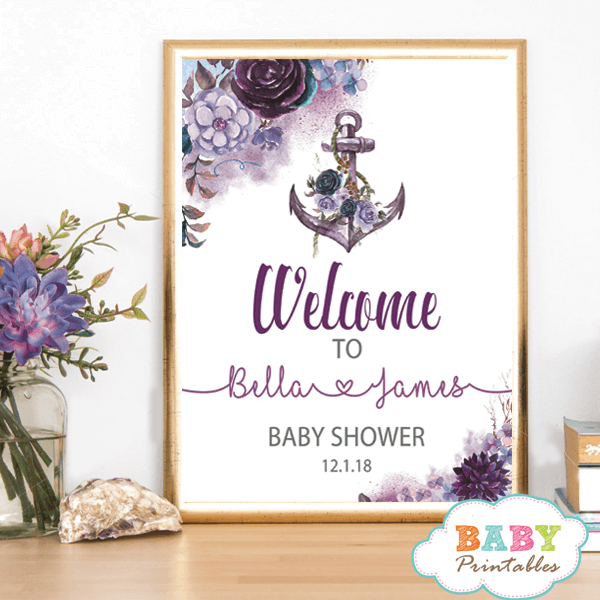nautical baby shower welcome sign floral purple violet anchor poster yard table