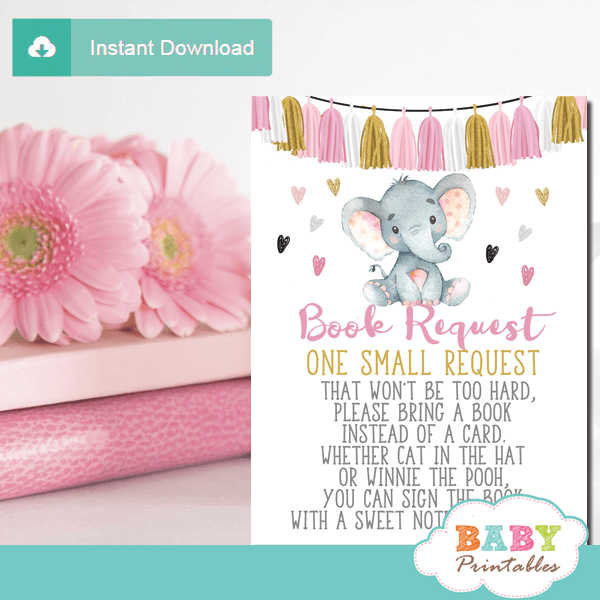 tassel garland girl elephant book request cards pink and gold invitation inserts