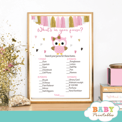 pink and gold owl baby shower games girl