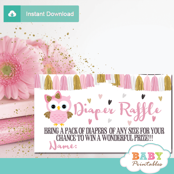 pink and gold owl diaper raffle tickets girl baby shower tassel garland