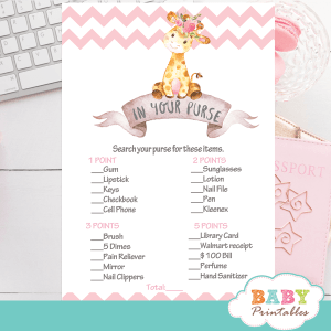 pink giraffe baby shower games girl chevron