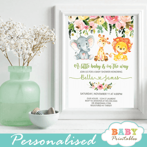 jungle animals baby shower invitations watercolor floral spring bouquet gender neutral boy girl
