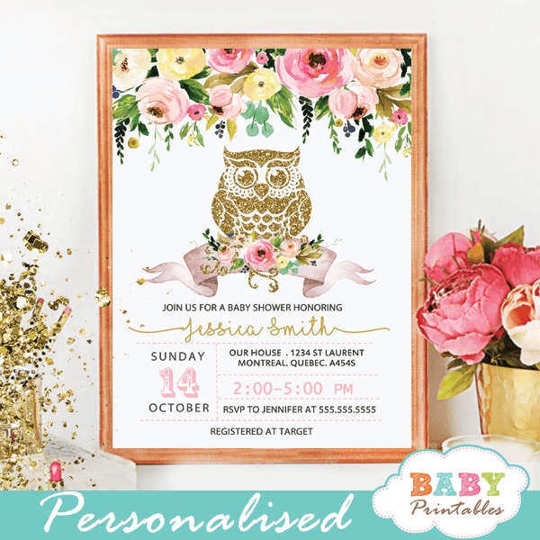 Fl Gold Owl Baby Shower Invitations D124