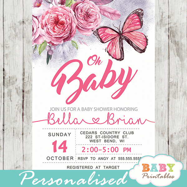 Fl Pink Erfly Baby Shower Invitations D239
