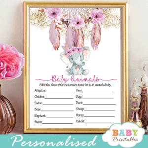 boho chic dream catcher elephant baby shower games girl pink floral feathers little peanut
