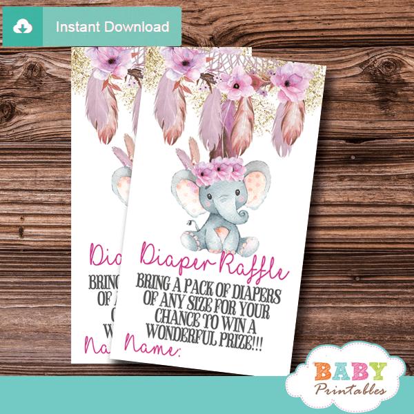 boho chic tribal floral dream catcher elephant diaper raffle tickets pink girl gold glitter little peanut
