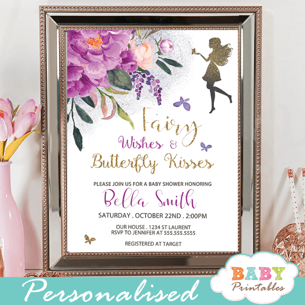 fairy baby shower invitations floral purple peonies violet butterflies