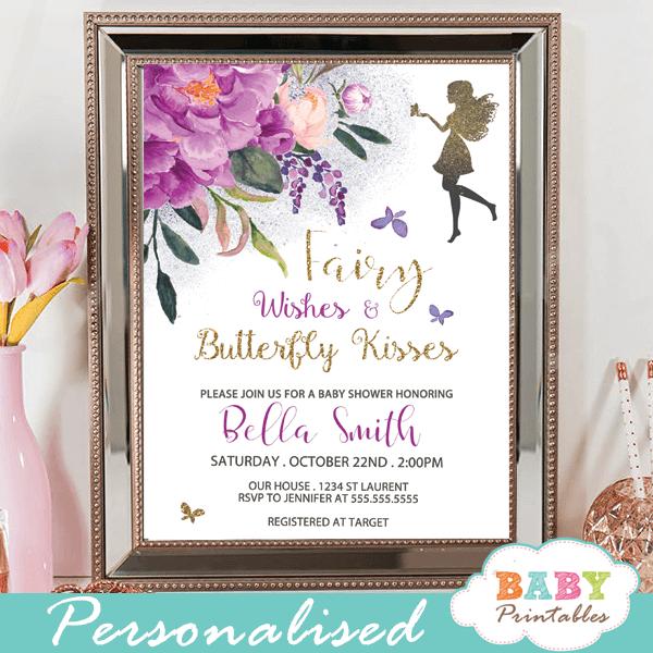 fairy baby shower invitations floral purple peonies violet butterflies