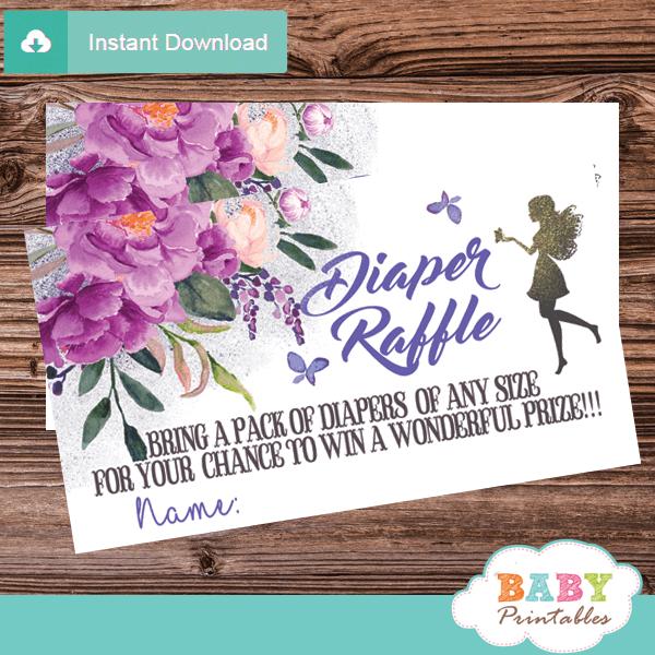 violet butterflies purple flowers fairy diaper raffle tickets